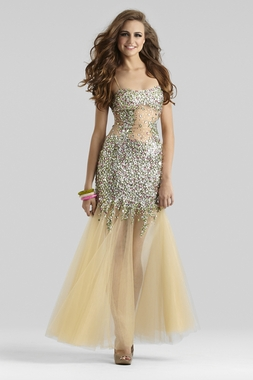 Clarisse Couture Sheer Prom Gown 4314