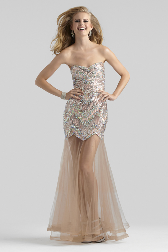 Clarisse 2014 Lime Green Fuchsia Pink Strapless Sequin Mermaid Prom ...