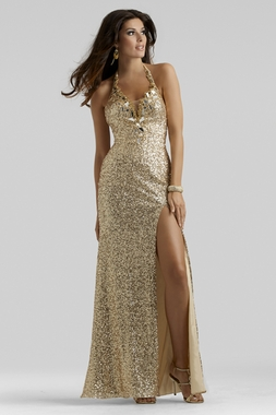 Oscar Gold Evening Gown 2409