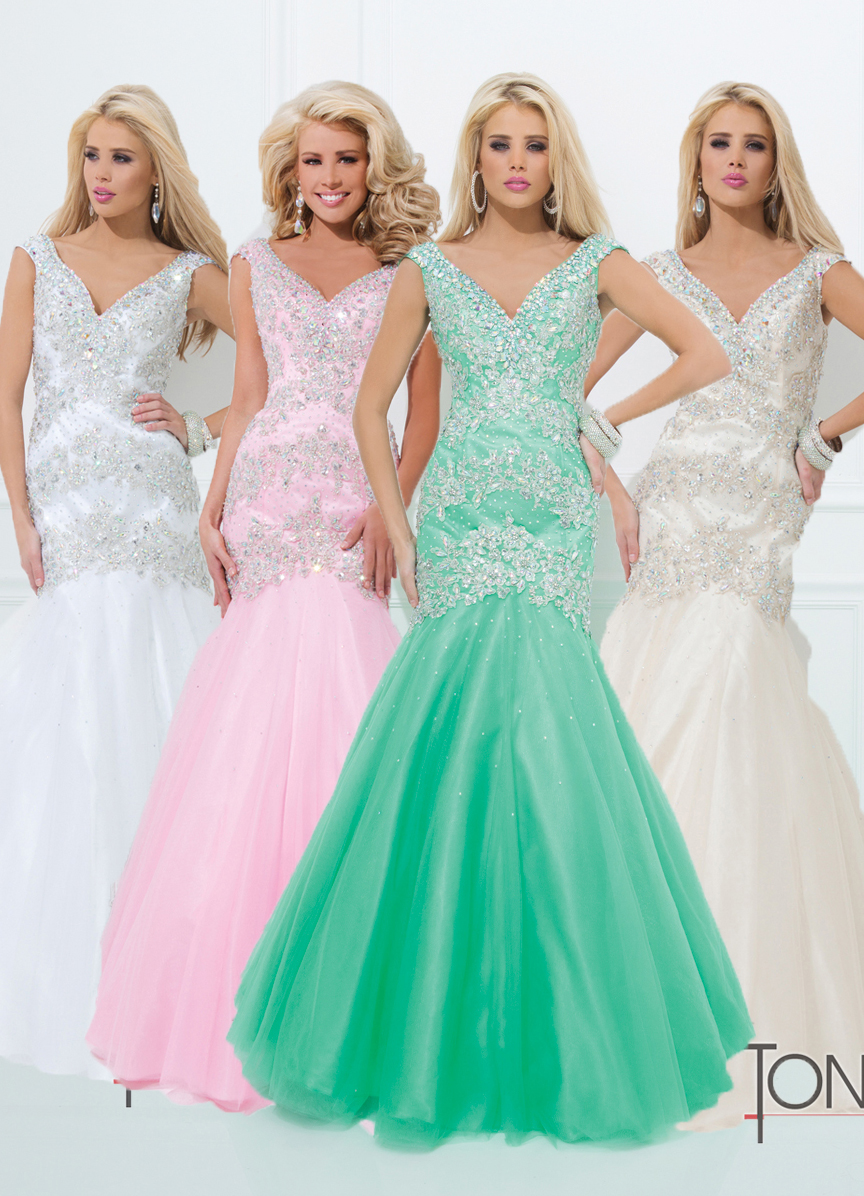 Tony Bowls 2014 Mint White Sequin Mermaid Tulle V Neck Prom Gown ...