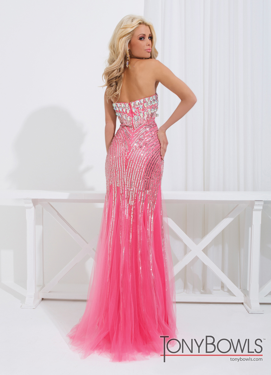 Tony Bowls 2014 Coral Pink Ivory Nude Sequin Sweetheart Mermaid Prom ...