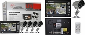 "4 Camera Complete CCTV System with DVR, Built-in 7"" Monitor, 320GB HDD, 4 Weatherproof Nightvision Cameras"