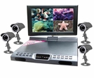 "All In One Surveillance Kit with 4 Cameras, 10"" Monitor and 4 Ch h.264 DVR with Smartphone Access"