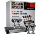 LTS LTD4IR, 4 Camera Complete CCTV Package, H.264 DVR 320GB Hard Drive, Phone Access