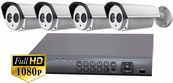 ProTVI Series, Full High Definition 1080p 4 Camera CCTV System with 2 Megapixel Bullet Cameras