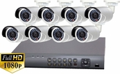 ProTVI Series, Full High Definition 1080p 8 Camera CCTV System with 2 Megapixel Mini Bullet Cameras