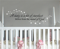 A Baby is a Bit of Stardust Nursery Wall Quote
