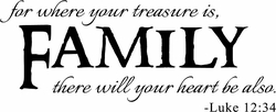 For Where Your Treasure Is Wall Quote Decal