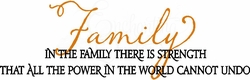 Our Family Strength Wall Quote Decal