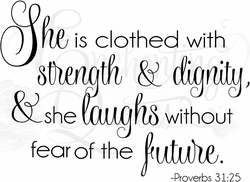 She is Clothed with Strength & Dignity Religious Wall Quotes