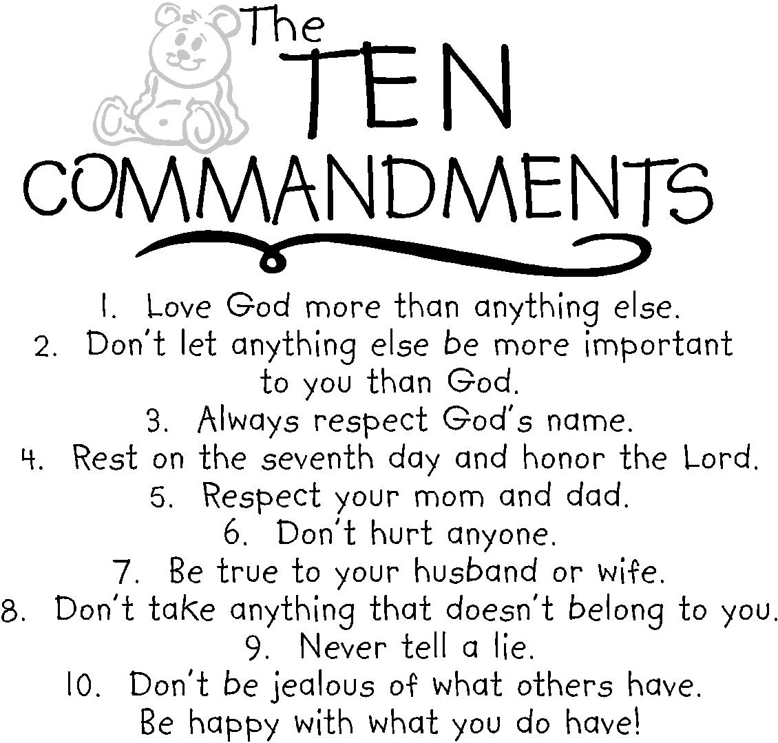 It's just an image of Crafty 10 Commandments for Kids Printable
