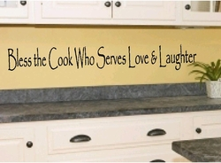Bless The Cook Who Serves Love & Laughter Kitchen Wall Quote