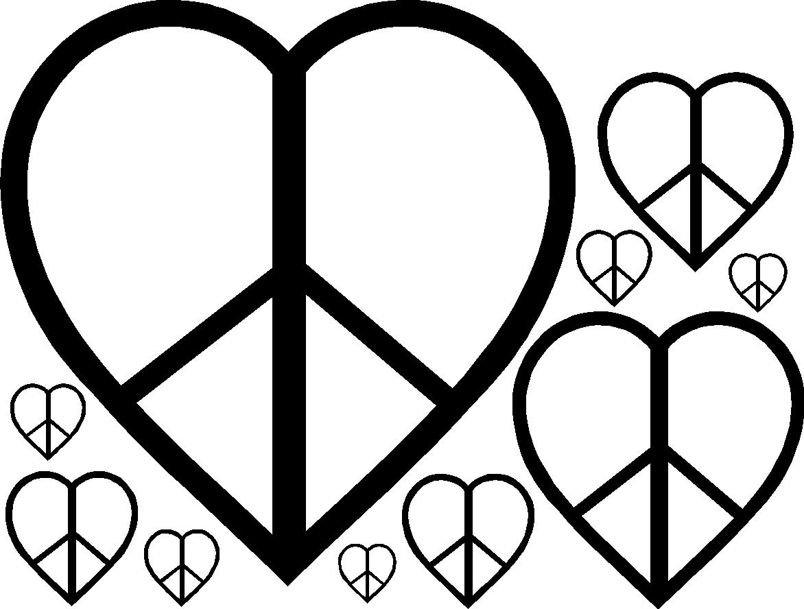 heart peace sign coloring pages - photo#7