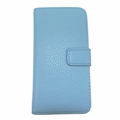 iPhone 5/5S Leather Case With Wallet - Light Blue