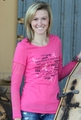 Ladies Pink Long Burnout Sleeve Tee