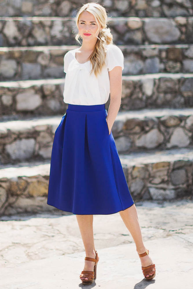 a line modest skirt in royal blue