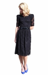 """Abby"" Lace Modest Dress in Black"