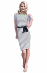"""Alexis"" Modest Dress in Black & White Stripes"