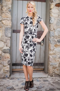 Amelia Dress in Black and White Print