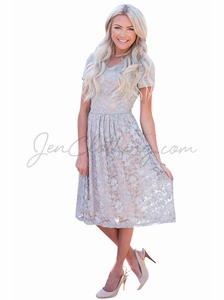 """Annabelle"" Modest Dress in Gray Lace w/Taupe Lining"