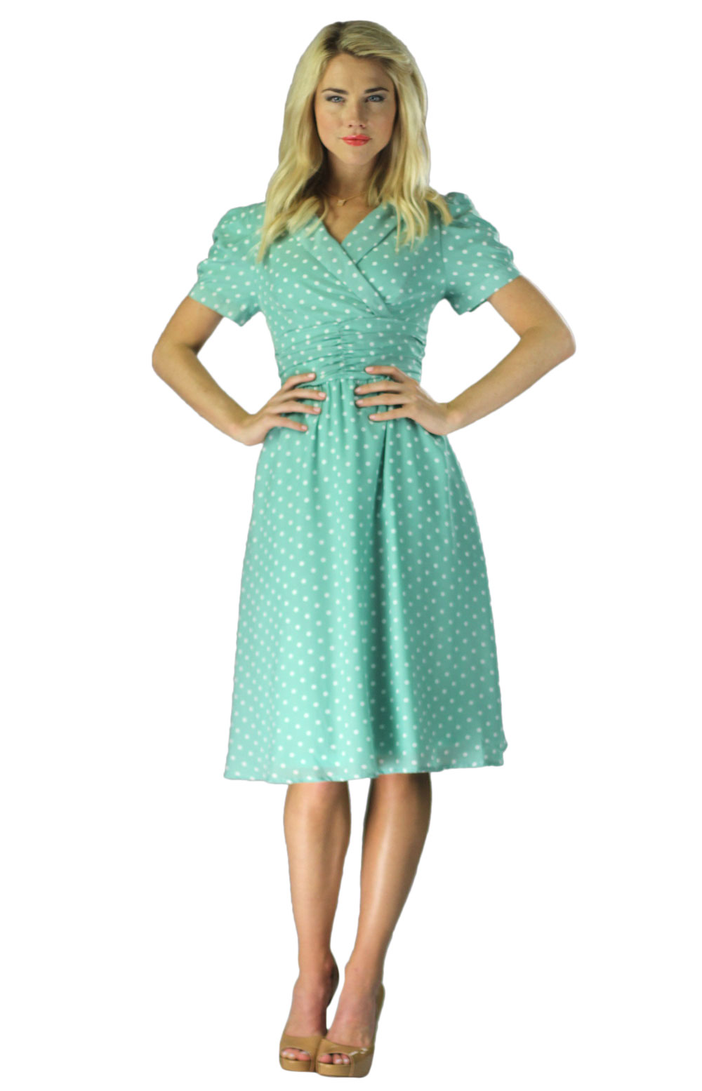 Vintage Modest Dresses in Mint Polka Dot