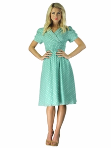 """Ariana"" Modest Dress in Mint Polka Dot"