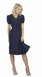 """Ariana"" Modest Dress in Navy Polka Dot"