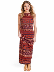 Ashley Maxi Modest Dress in Moroccan Print