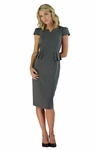 """Audrey"" Peplum Modest Dress in Gray"
