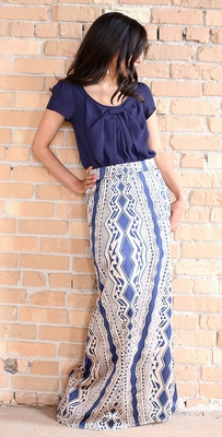 """Aztec Maxi"" Modest Skirt in Navy"