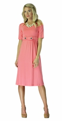 """Bailey"" Modest Dress in Coral"