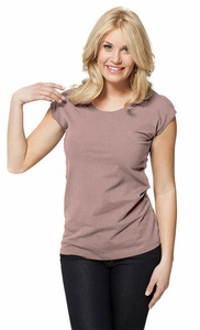 Basic Cap Sleeve Modest Top in Ash Rose