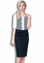 Basic Woven Pencil Skirt in Black