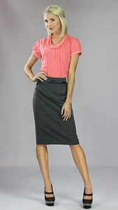 """Basic Pencil Skirt w/Belt"" in Grey"
