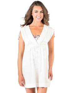 """Beach Day Dress"" Modest Swim Cover-Up in Egret *Final Sale*"