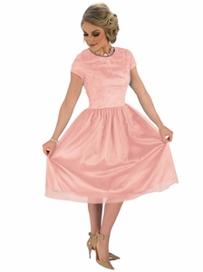 """Bella"" Lace & Tulle Modest Dress in Ballet Slipper Pink"