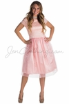 """Bella"" Lace & Tulle Modest Prom or Bridesmaid Dress in Ballet Slipper Pink"