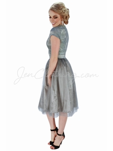"""Bella"" Lace & Tulle Modest Dress in Sharkskin Grey"