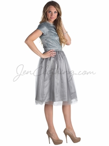"""Bella"" Lace & Tulle Modest Prom or Bridesmaid Dress in Silver Grey"