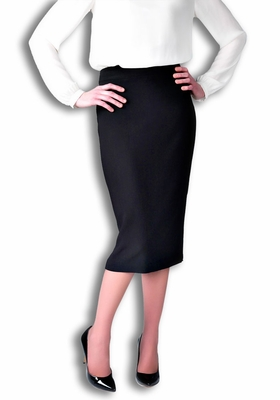 Belle Modest Pencil Skirt in Black (Available in Regular & Tall)