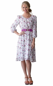 Blake Modest Dress in Purple Floral