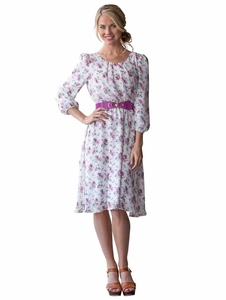 Blake Modest Dress in Purple Floral *Final Sale*