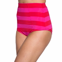 Bombshell Swim Bottoms in Red/Fuchsia Pink Stripe