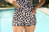 """Boyshort"" Modest Tankini Bottoms in Leopard Print"