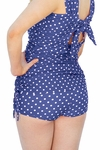 """Boyshort"" Modest Tankini Bottoms in Navy Polka Dot *Final Sale*"