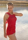 """Boyshort"" Modest Tankini Bottoms in Red Polka Dot *BACK IN STOCK*"
