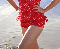 """Boyshort"" Modest Tankini Bottoms in Red Polka Dot"