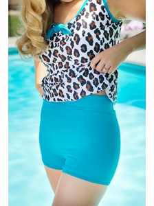 """Boyshort"" Modest Tankini Bottoms in Teal"