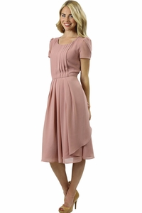 Cassidy Modest Dress in Cameo Pink