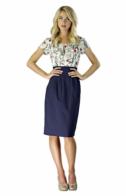 """Charlotte"" Modest Dress in Dark Navy/Floral"